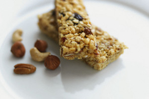 Two granola bars and nuts
